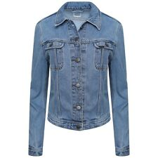 Ladies Ex Lee Slim Denim Jackets Light Blue Long Sleeves