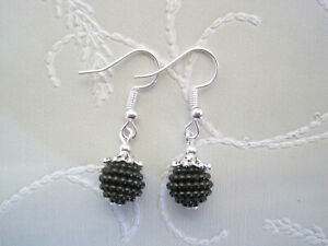 CUTE BLACKBERRY CHARM Silver Plated Drop Earrings GIFT POUCH Black Berry NEW