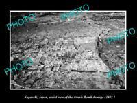 OLD POSTCARD SIZE PHOTO NAGASAKI JAPAN, AERIAL VIEW OF CITY ATOMIC BOMB c1945 2