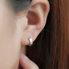 Silver Plated Small Plain Hoop Huggie Earrings for Women Girl