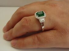 925 STERLING SILVER LADIES RING W/ 4.50 CT LAB DIAMOND & EMERALD  /SIZE 5 TO 9