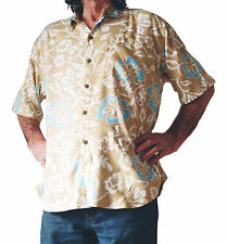 Herren Hawaii-Hemd, beige mit weißen und Licht blau Hibiskus Blumen, L 132cm NEU