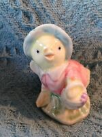NOS MOTHER CHICKEN WITH BASKET AND BROOM EASTER FIGURINE