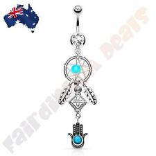 316L SS Clear Jewelled Belly Ring with Woven Star Dream Catcher & Hamsa Dangle