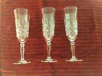 """24L LEAD CRYSTAL FRANCE -DIAMOND SHAPED CUT CHAMPAGNE FLUTES - 7-1/2"""" - 3 TOTAL"""