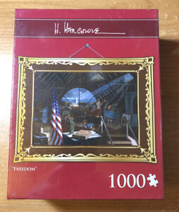 """""""Freedom"""" 1000 Piece Patriotic American Eagle USA Jigsaw Puzzle By H. Hargrove"""