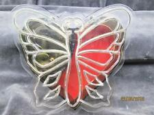 """Vintage Clear Butterfly Music Jewelry Box Plays """"You Light Up My Life"""" Hong Kong"""