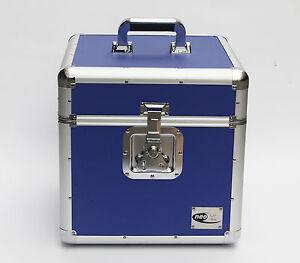 "12"" Blue LP Vinyl Record Aluminium DJ Flight Carry Case Holds 100 Tough Strong"