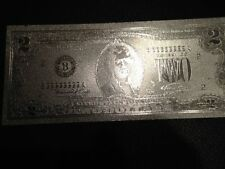 USA $2 DOLLAR SILVER NEW BILL. EACH IN HARD BILL HOLDER GREAT COLLECTIBLE GIFT.