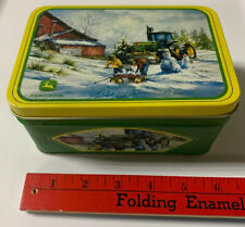 "John Deere Tractor R.L. Crouse Rectangle Tin Box 6""x4""x3"" Vtg Winter Farm Scene"
