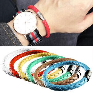 Unisex Women Men Braided Leather Magnetic Steel Clasp Bracelet Handmade Bangle