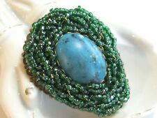 VINTAGE MIRIAM HASKELL STYLIZED PEACOCK FEATHER PIN BROOCH FILIGREE GLASS BEADS