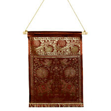 Indian Wall Hanging Tapestry Brocade Silk Elephant Letter/Book Holder Home Decor