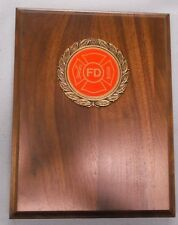 FIRE DEPARTMENT insert solid walnut 6 x 8 plaque trophy award