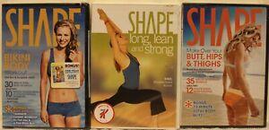 3 NEW Shape Magazine workout DVD lot long lean & strong ultimate bikini body