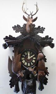 WORKING LARGE GERMAN BLACK FOREST 8 DAY HUNTER DEER HEAD CARVED CUCKOO CLOCK!