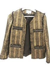 Sandro Tweed Boucle Blazer Gold Gr. 36