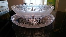 Stunning Antique Satin Punch Bowl and Matching Platter..ONE OF