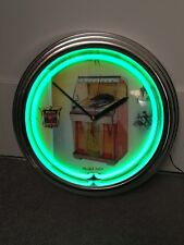 ROCKOLA 1454 JUKEBOX GREEN NEON CLOCK RETRO CHROME AMI,ROCKOLA,WURLITZER, XMAS??