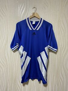 ADIDAS EQUIPMENT 90s FOOTBALL SHIRT SOCCER JERSEY BLUE sz L