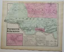 ORIGINAL 1873 hand-colord Map,PLYMOUTH & JACKSON TOWNSHIPS,LUZERNE County,PA,RR