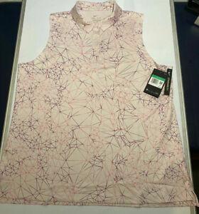 Womens Nike Printed Fairway Sleeveless Polo Pink CK5831-699 NWT $60