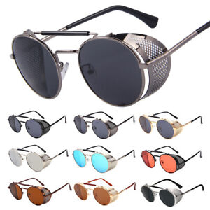 Vintage Steampunk Sunglasses Inspired Round Metal Circle Side Shield Glasses