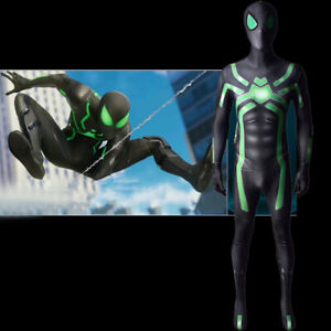 PS4 Green Spiderman Stealth Suit Jumpsuit Spider-man Cosplay Costume Halloween