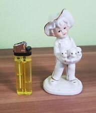 Sehr schöne Dekofigur Mädchen mit Welpen aus Porzellan H=13cm  TOP!
