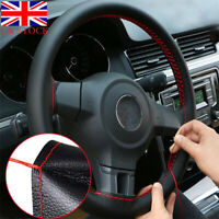 FOR FIAT PUNTO MK2 BLACK LEATHER STEERING WHEEL COVER 1999-2006 BLUE STITCHING
