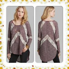 Free People Over-Sized Flying V Hacci Lace Stripe Pullover Sweater Top Small