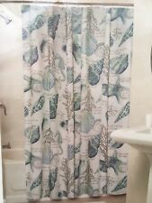 Coastal Collection SHOWER CURTAIN Shells Seahorse Blue Green White Tropical NEW
