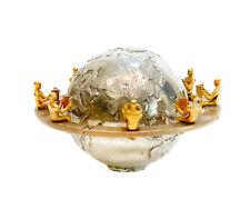 Italian 800 Silver Gilt Bronze Mixed Metal Globe Figurine, 20th Century