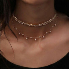 Fashion Women Multilayer Choker Necklace Crystal Star Chain Gold Summer Jewelry