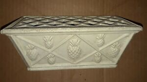 Hen-Feathers Forged Iron Planter with Lattice Flower Frog Lid  Topiary Design