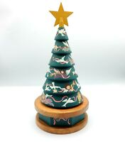 Hand Painted Revolving Wooden Christmas Tree Angels & Doves Wind Up Music Box