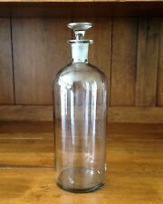 Vintage 1800's Hand Blown Glass Apothecary Bottle & Ground Stopper & Pontil Scar