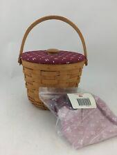 Longaberger 1999 Medium Fruit Basket Combo w Traditional Red Fabric lid