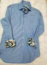 Vintage Robert Graham Blue Striped Dress Shirt Size S Cuff Design