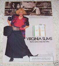1987 ad page - Virginia Slims cigarettes - western saloon Cowboy poker ADVERT
