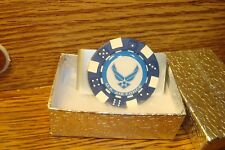 "U.S. Air Force  Blue Wings LOGO Aluminum Poker Chip Money Clip 1"" Dome image"