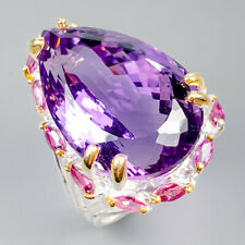 Vintage35ct+ Natural Amethyst 925 Sterling Silver Ring Size 8/R120467
