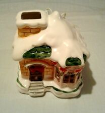 """Vintage Lighted Ceramic Village Snow House 6"""" X 6"""" sq-Tested & Working"""