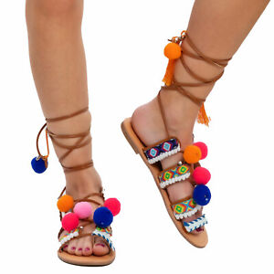 Women's Shoes Sandals Slippers Pom Ethnic Gladiator Slave Toocool GLY-110