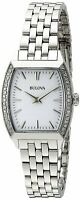 Bulova Women's Quartz Silver-Tone Crystal Accents Tonneau 26mm Watch 96R196