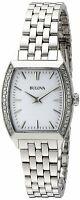 Bulova Women's Quartz Silver-Tone Crystal Accented Bezel 26mm Watch 96R196