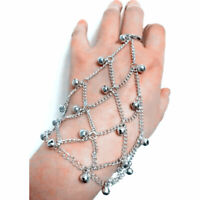 Frauen Charms Glocken Link Tassel Sklave Finger Ring Armband Hand Harness
