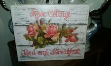 Chic and Shabby Pink Rose Cottage Bed and Breakfast Sign Distressed