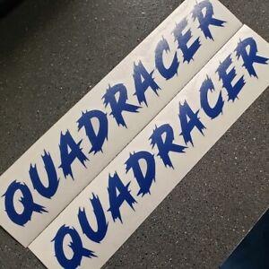 "Quad racer Quadracer Suzuki Decals 9"" long Set of two reflective blue"