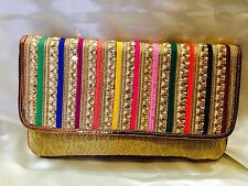 Multi Coloured Gold Handbag Clutch Wallet Bollywood Indian Sari Purse Art Silk